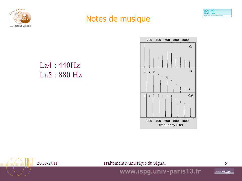 2010-2011Traitement Numérique du Signal5 Notes de musique La4 : 440Hz La5 : 880 Hz