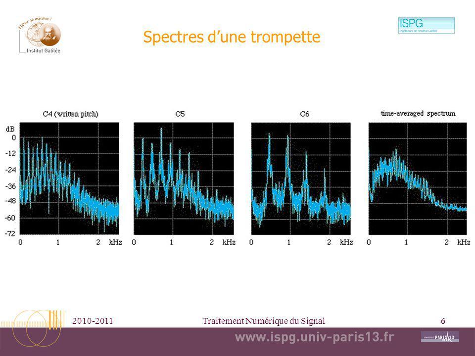 2010-2011Traitement Numérique du Signal6 Spectres dune trompette