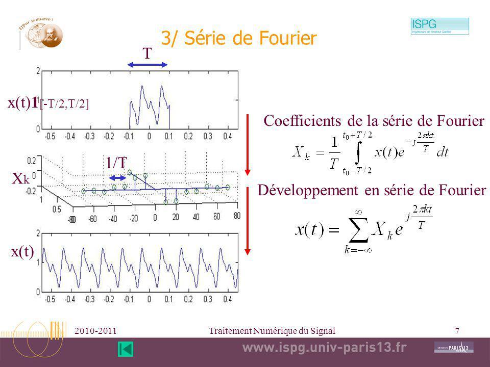 2010-2011Traitement Numérique du Signal7 1/T Coefficients de la série de Fourier 3/ Série de Fourier T Développement en série de Fourier x(t)1 [-T/2,T