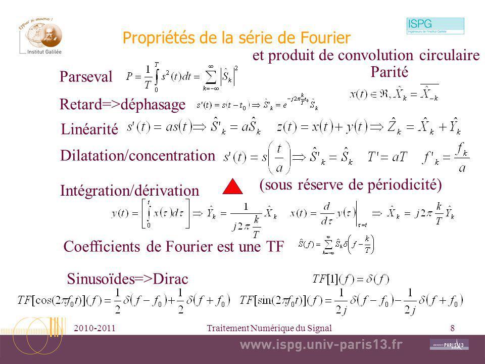 2010-2011Traitement Numérique du Signal8 Linéarité Retard=>déphasage Coefficients de Fourier est une TF Propriétés de la série de Fourier Parseval Dil