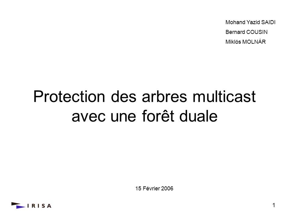 1 Protection des arbres multicast avec une forêt duale Mohand Yazid SAIDI Bernard COUSIN Miklós MOLNÁR 15 Février 2006