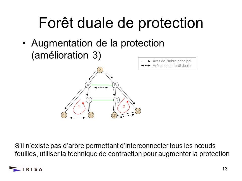 13 Forêt duale de protection Sil nexiste pas darbre permettant dinterconnecter tous les nœuds feuilles, utiliser la technique de contraction pour augmenter la protection Augmentation de la protection (amélioration 3) Arcs de larbre principal Arêtes de la forêt duale S M2M1 C B A D M2M1 M4 M3 21 B A