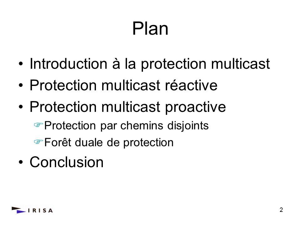 2 Plan Introduction à la protection multicast Protection multicast réactive Protection multicast proactive Protection par chemins disjoints Forêt dual
