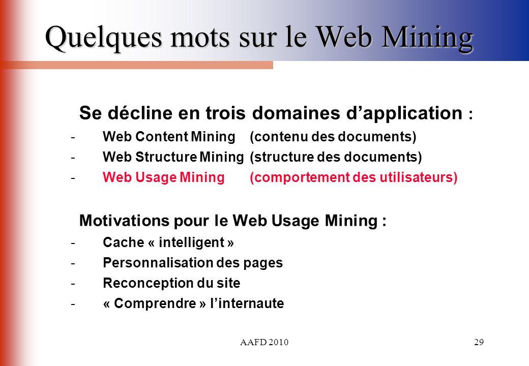 AAFD 201029 Quelques mots sur le Web Mining Se décline en trois domaines dapplication : - Web Content Mining(contenu des documents) - Web Structure Mi