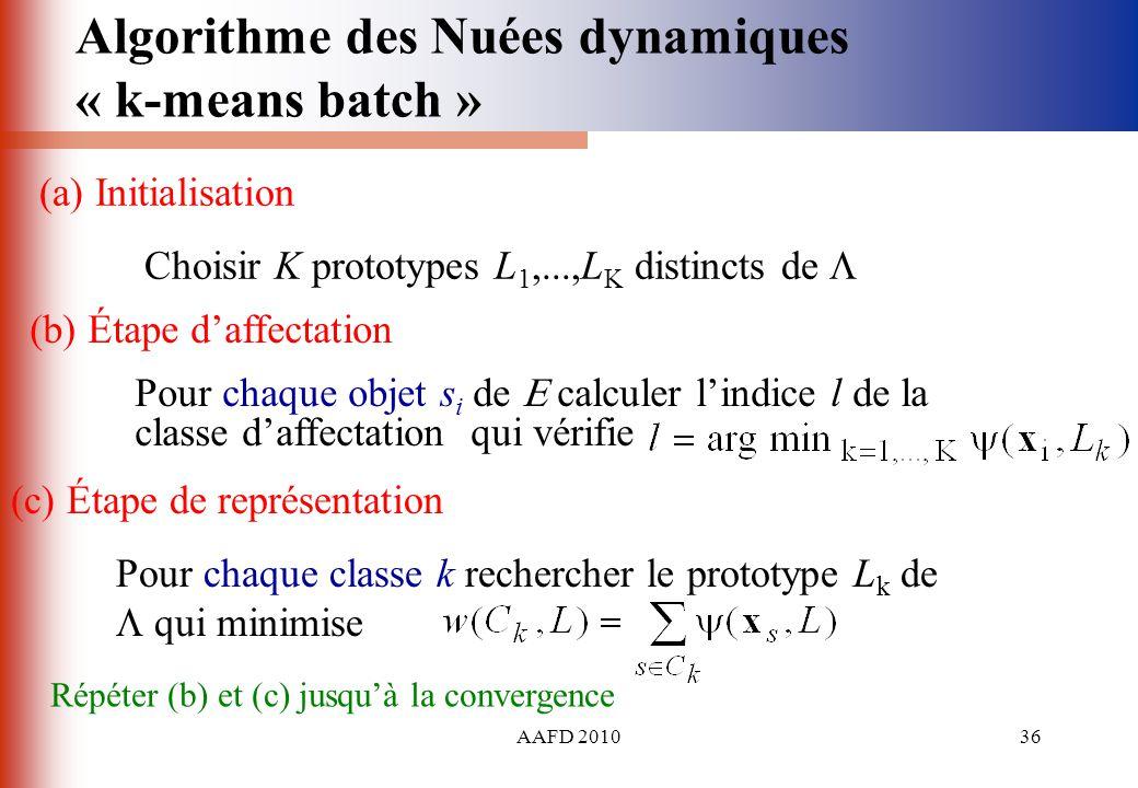 AAFD 201036 (b) Étape daffectation Pour chaque objet s i de calculer lindice l de la classe daffectation qui vérifie (a) Initialisation Choisir K prot