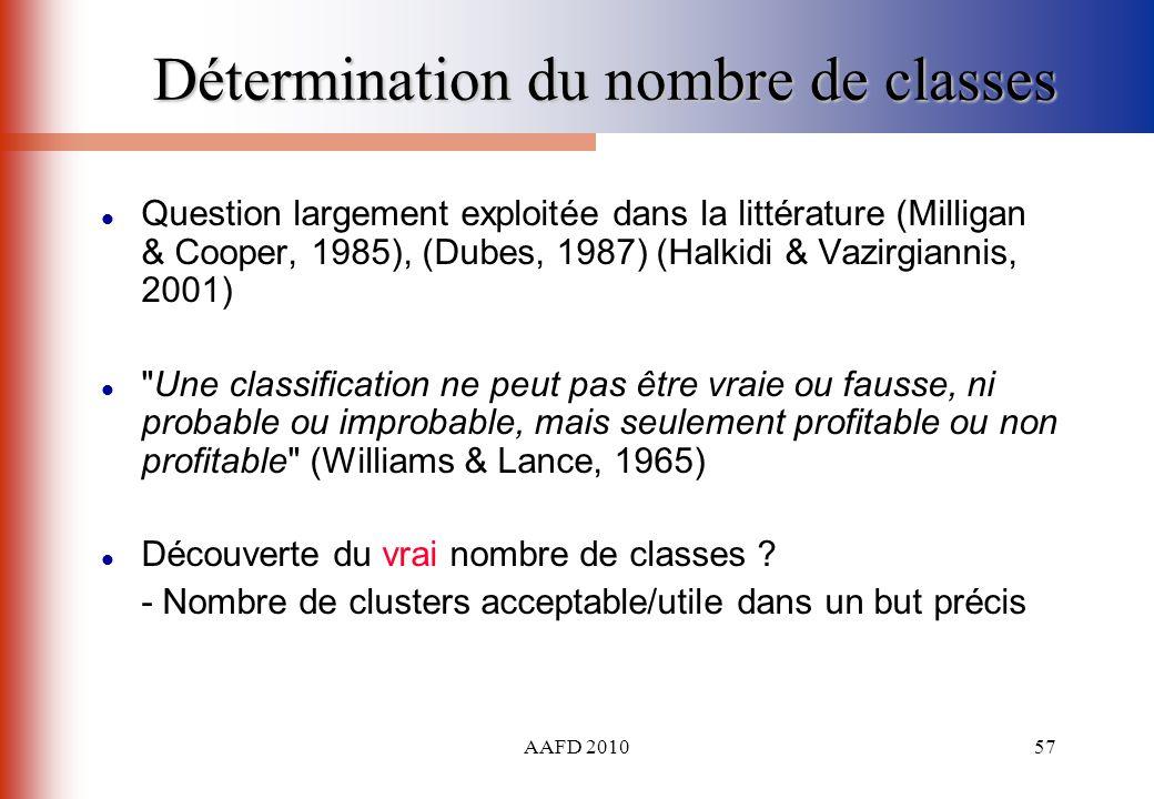 AAFD 201057 Détermination du nombre de classes Question largement exploitée dans la littérature (Milligan & Cooper, 1985), (Dubes, 1987) (Halkidi & Va