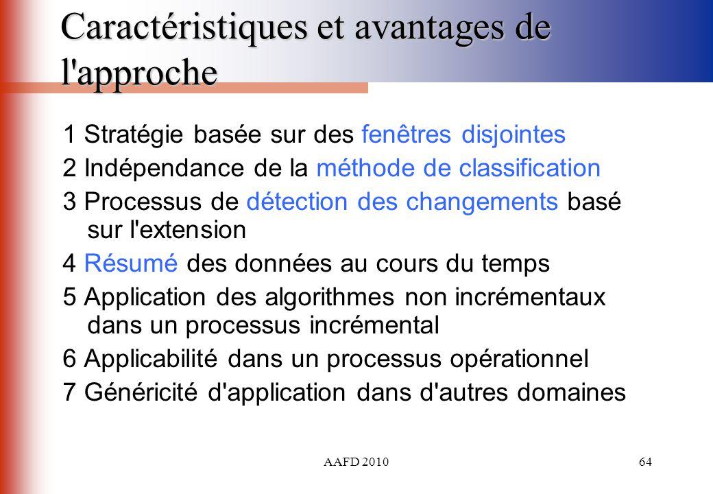 AAFD 201064 Caractéristiques et avantages de l'approche 1 Stratégie basée sur des fenêtres disjointes 2 Indépendance de la méthode de classification 3