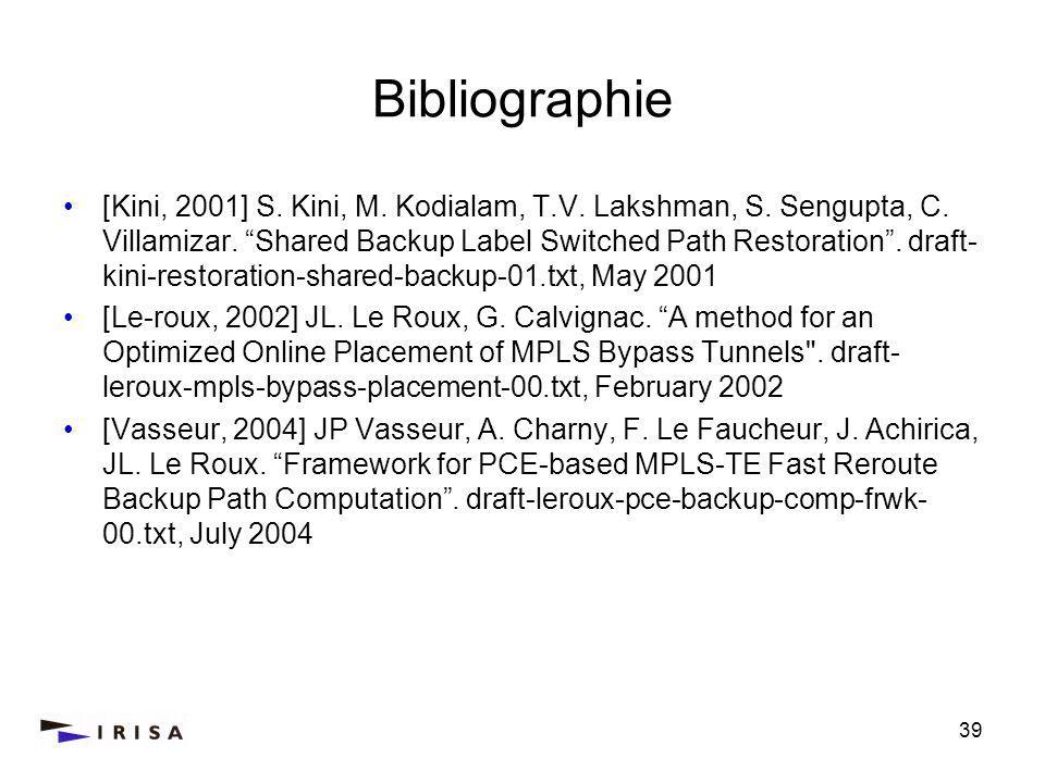 39 Bibliographie [Kini, 2001] S. Kini, M. Kodialam, T.V.