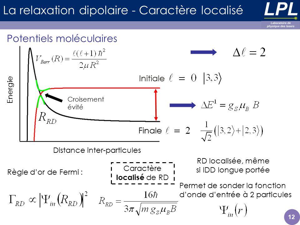 La relaxation dipolaire - Caractère localisé Potentiels moléculaires 12 Distance inter-particules Energie Initiale Finale Règle dor de Fermi : Caractè