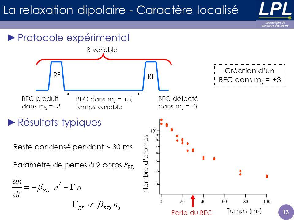 Temps (ms) Nombre datomes 13 La relaxation dipolaire - Caractère localisé Protocole expérimental Résultats typiques Paramètre de pertes à 2 corps RD R