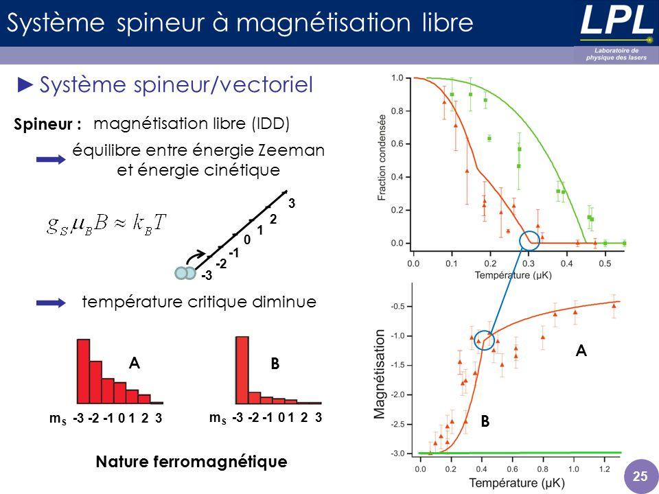 Système spineur à magnétisation libre Système spineur/vectoriel 25 magnétisation libre (IDD) équilibre entre énergie Zeeman et énergie cinétique Spine
