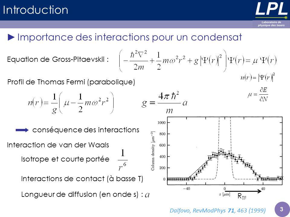 Introduction Importance des interactions pour un condensat Equation de Gross-Pitaevskii : Profil de Thomas Fermi (parabolique) conséquence des interac