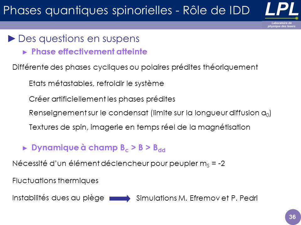 Des questions en suspens Phase effectivement atteinte Dynamique à champ B c > B > B dd Différente des phases cycliques ou polaires prédites théoriquem