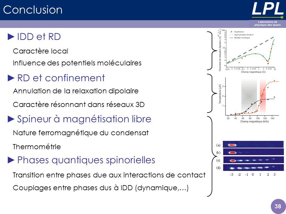 Conclusion IDD et RD RD et confinement Spineur à magnétisation libre Phases quantiques spinorielles Caractère local Annulation de la relaxation dipola