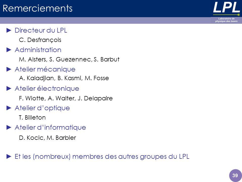 Remerciements Directeur du LPL Administration Atelier mécanique Atelier électronique Atelier doptique Atelier dinformatique Et les (nombreux) membres
