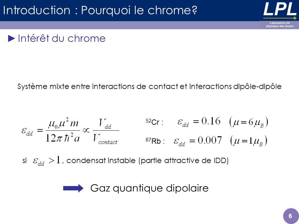 si, condensat instable (partie attractive de IDD) 66 Introduction : Pourquoi le chrome? Intérêt du chrome 52 Cr : 87 Rb : Système mixte entre interact