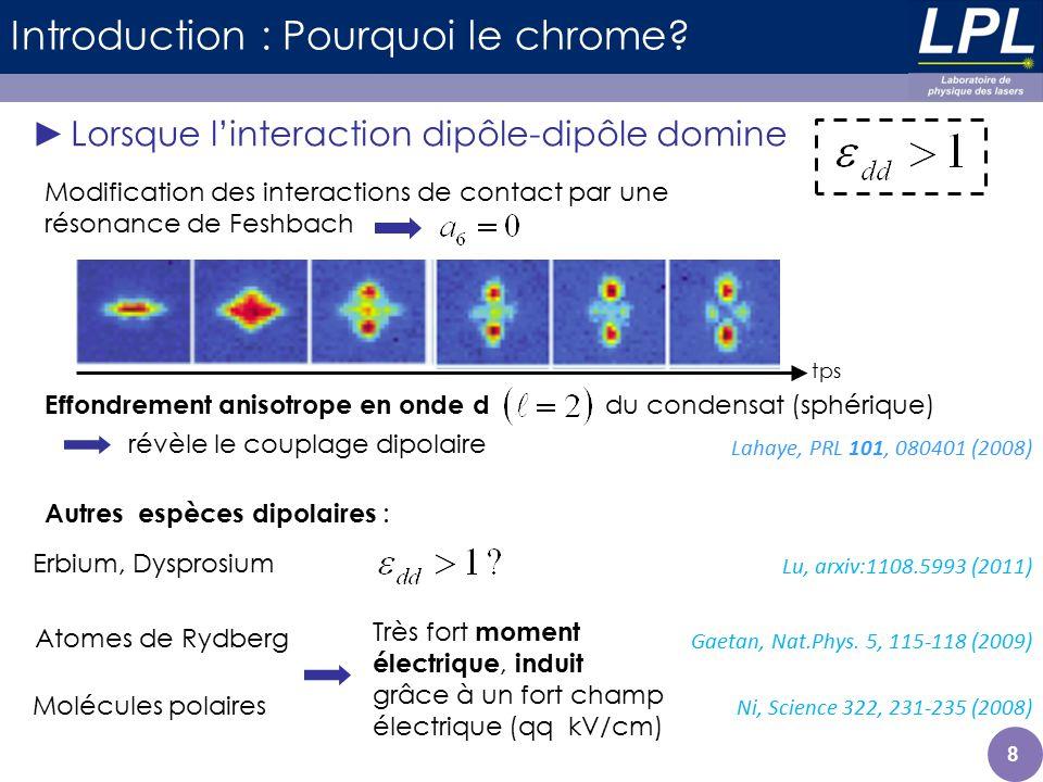 29 Phases quantiques spinorielles - Rôle de IDD Différences chrome / alcalins : interaction dipôle-dipôle Alcalins : systèmes à magnétisation constante 0 1 Echange de spin Effet Zeeman linéaire sans incidence sur létat final ( travail à haut B) Phases déterminées par les interactions de contact, qui diffèrent par leur magnétisation IDD assure le couplage entre ces états Etude de la dynamique à la transition (B c ) Etat fondamental à magnétisation libre Rôle de linteraction dipôle-dipôle -3 -2 0 1 2 3