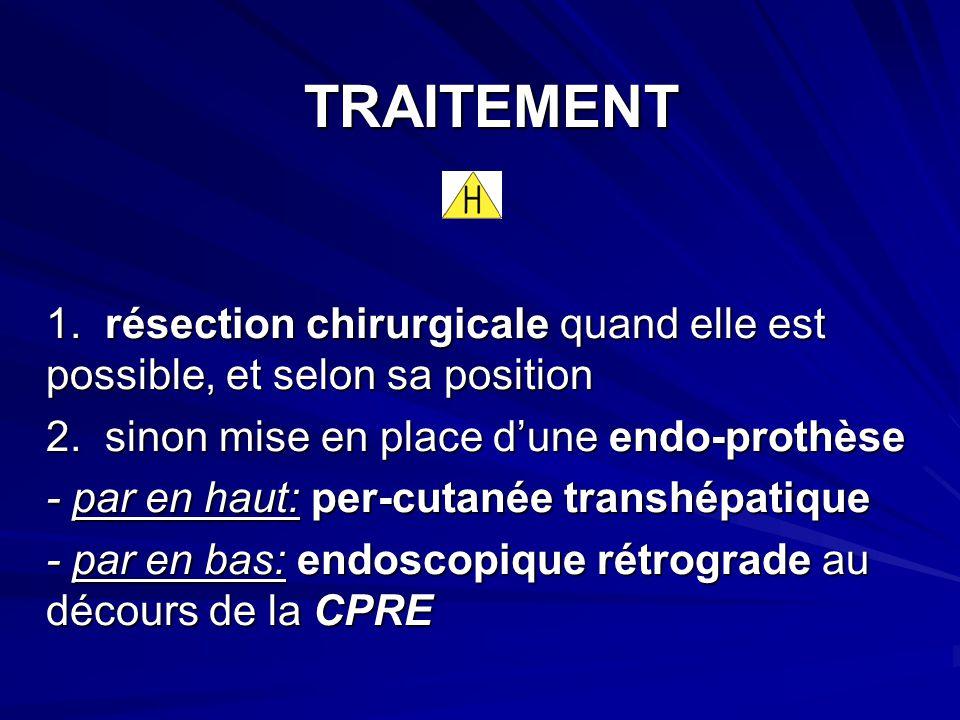 TRAITEMENT TRAITEMENT 1. résection chirurgicale quand elle est possible, et selon sa position 2. sinon mise en place dune endo-prothèse - par en haut: