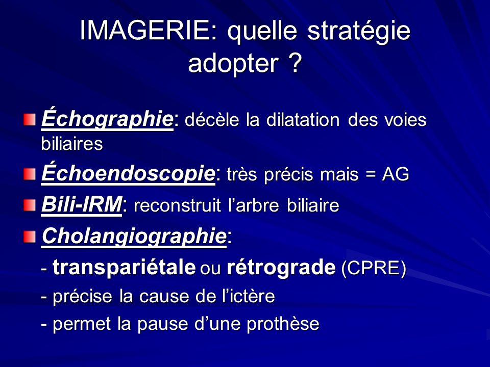 IMAGERIE: quelle stratégie adopter ? Échographie: décèle la dilatation des voies biliaires Échoendoscopie: très précis mais = AG Bili-IRM: reconstruit
