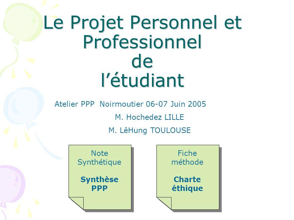 Le Projet Personnel et Professionnel de létudiant Note Synthétique Synthèse PPP Note Synthétique Synthèse PPP Fiche méthode Charte éthique Fiche métho