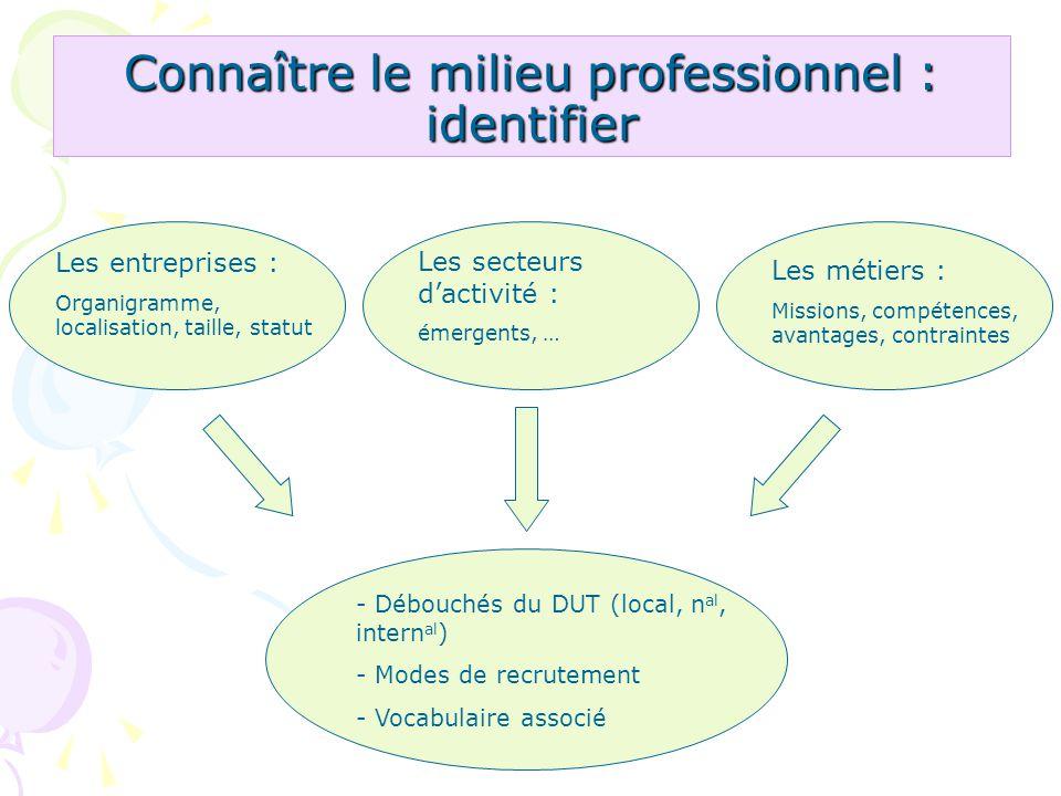 Connaître le milieu professionnel : identifier Les entreprises : Organigramme, localisation, taille, statut Les secteurs dactivité : émergents, … Les