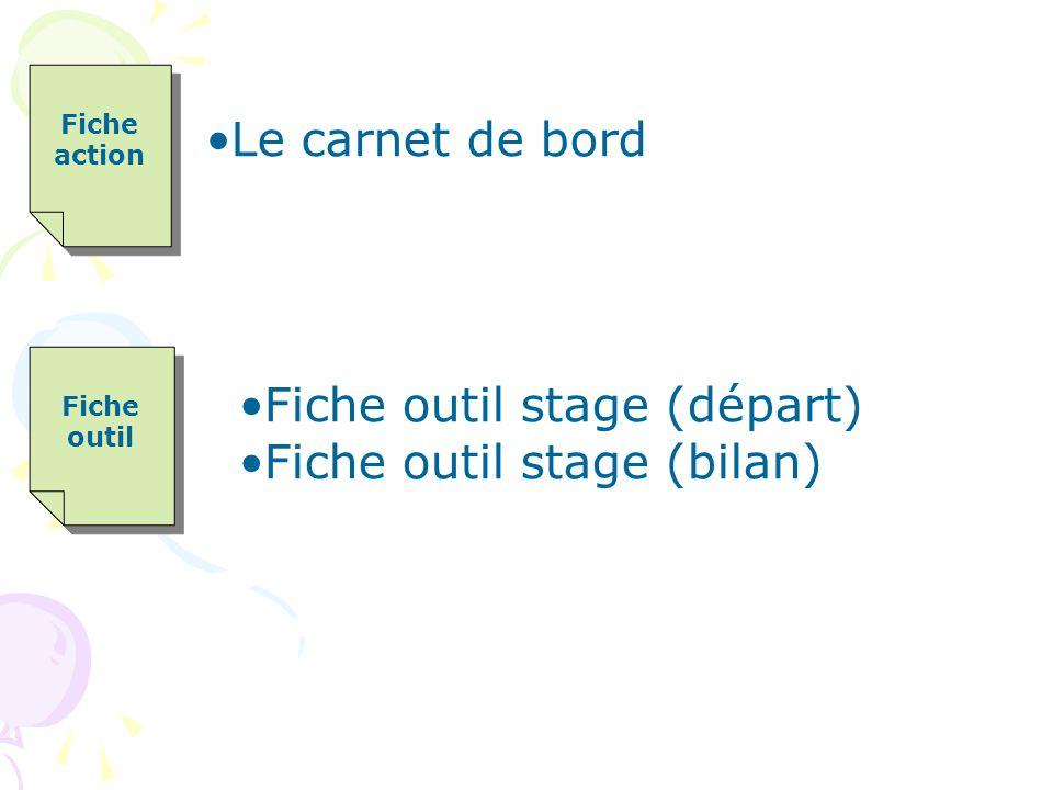 Fiche outil Fiche outil Fiche outil stage (départ) Fiche outil stage (bilan) Fiche action Fiche action Le carnet de bord