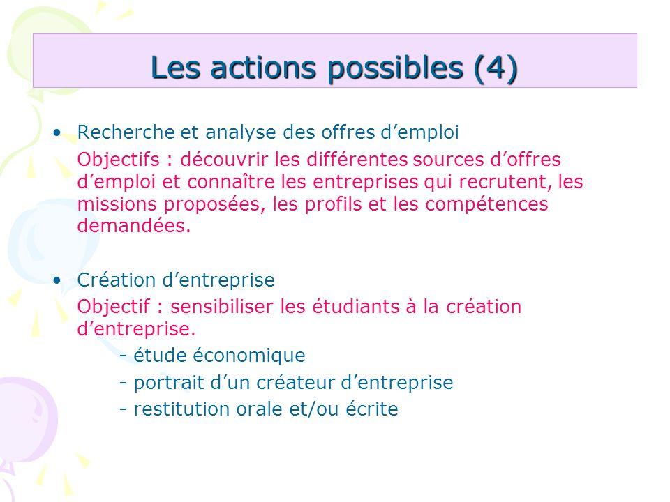 Les actions possibles (4) Recherche et analyse des offres demploi Objectifs : découvrir les différentes sources doffres demploi et connaître les entre