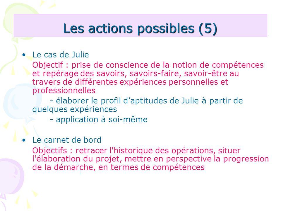 Les actions possibles (5) Le cas de Julie Objectif : prise de conscience de la notion de compétences et repérage des savoirs, savoirs-faire, savoir-êt