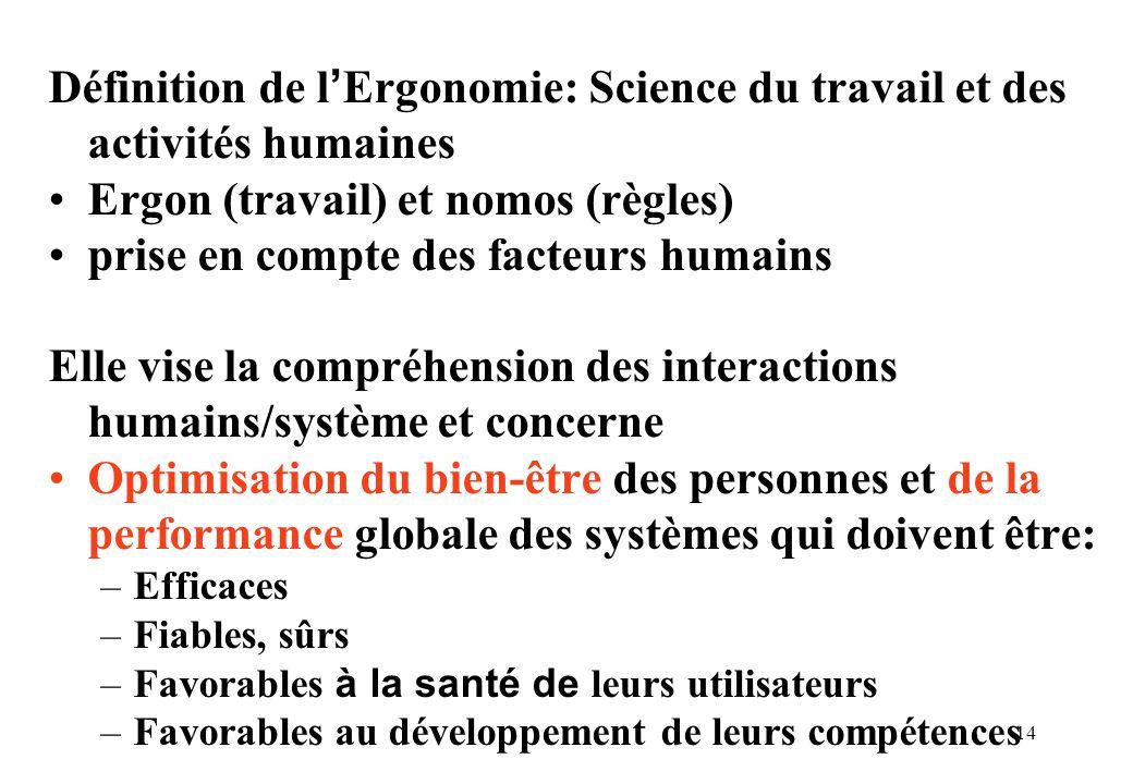 14 Définition de l Ergonomie: Science du travail et des activités humaines Ergon (travail) et nomos (règles) prise en compte des facteurs humains Elle