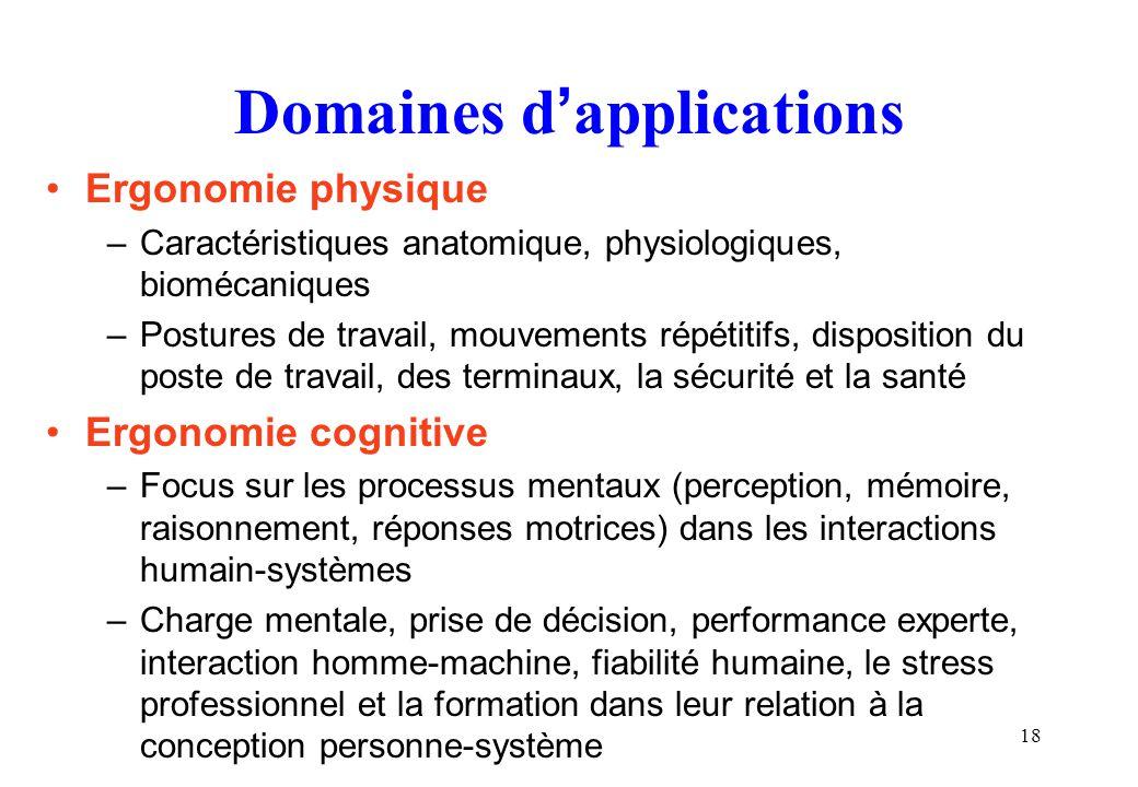 18 Domaines dapplications Ergonomie physique –Caractéristiques anatomique, physiologiques, biomécaniques –Postures de travail, mouvements répétitifs,