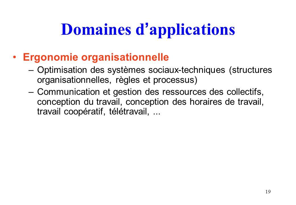 19 Domaines dapplications Ergonomie organisationnelle –Optimisation des systèmes sociaux-techniques (structures organisationnelles, règles et processu