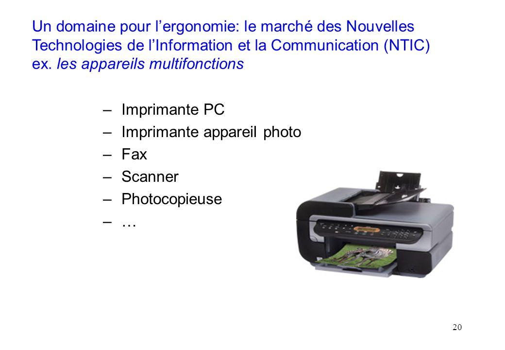20 Un domaine pour lergonomie: le marché des Nouvelles Technologies de lInformation et la Communication (NTIC) ex. les appareils multifonctions –Impri