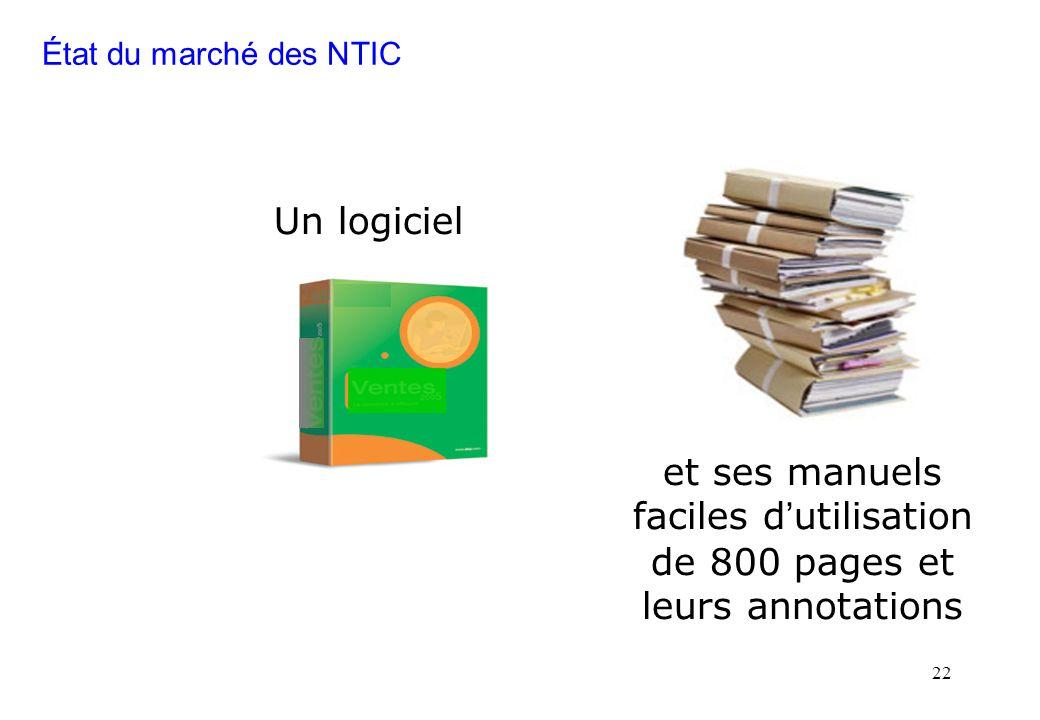 22 Un logiciel et ses manuels faciles d utilisation de 800 pages et leurs annotations État du marché des NTIC