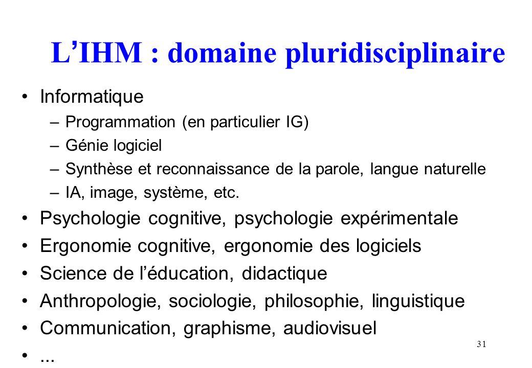 31 LIHM : domaine pluridisciplinaire Informatique –Programmation (en particulier IG) –Génie logiciel –Synthèse et reconnaissance de la parole, langue naturelle –IA, image, système, etc.