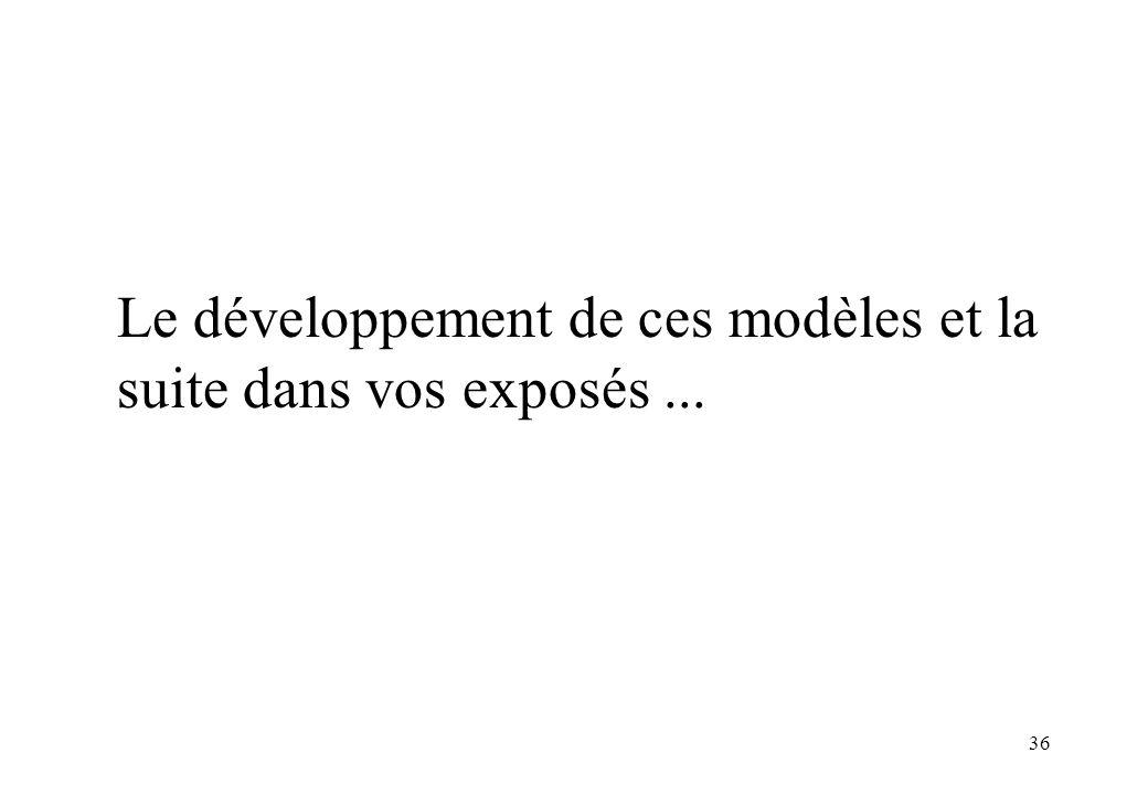 36 Le développement de ces modèles et la suite dans vos exposés...