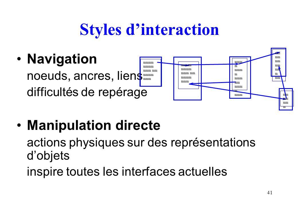 41 Styles dinteraction Navigation noeuds, ancres, liens difficultés de repérage Manipulation directe actions physiques sur des représentations dobjets inspire toutes les interfaces actuelles mmmm mmm mm mmmm mmm mmmm mmm mm mmmm mmm mmm m mmm mm mmm m mmm mm mm mm m mm mm mm mm m