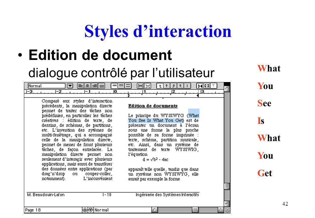 42 Styles dinteraction Edition de document dialogue contrôlé par lutilisateur What You See Is What You Get