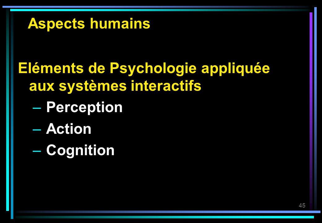 45 Aspects humains Eléments de Psychologie appliquée aux systèmes interactifs – Perception – Action – Cognition