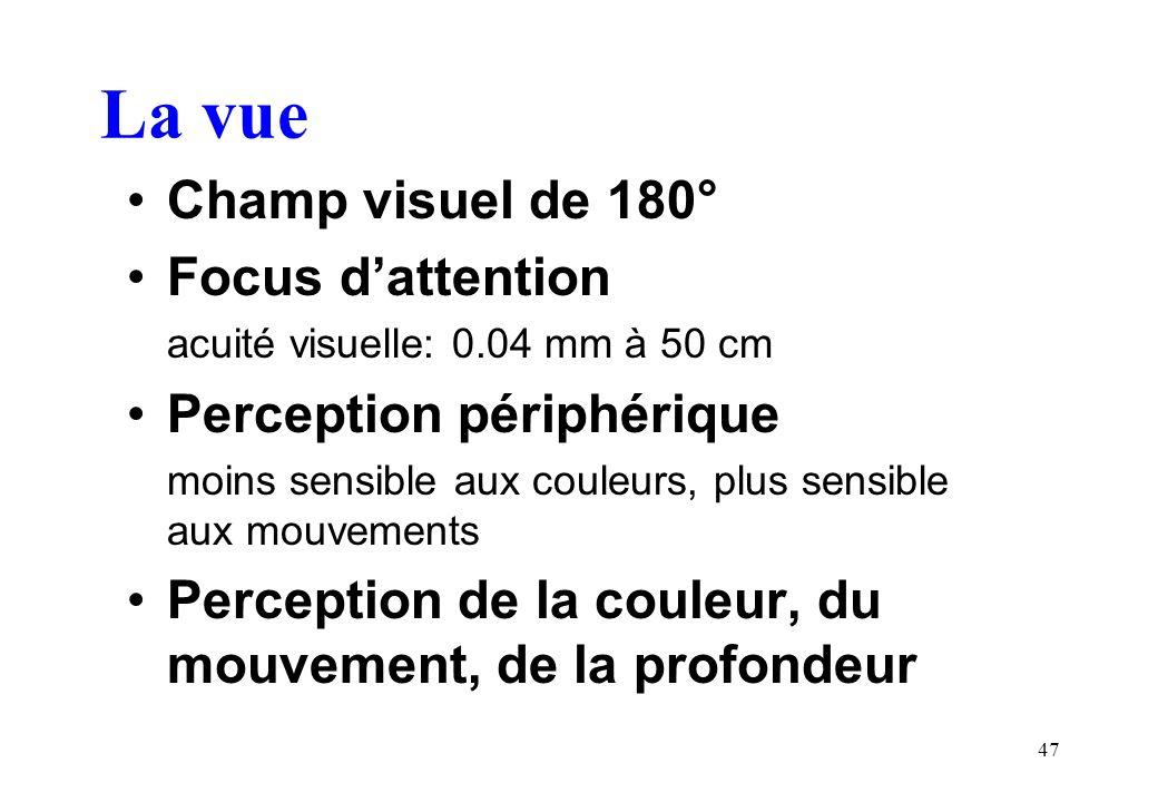 47 La vue Champ visuel de 180° Focus dattention acuité visuelle: 0.04 mm à 50 cm Perception périphérique moins sensible aux couleurs, plus sensible aux mouvements Perception de la couleur, du mouvement, de la profondeur