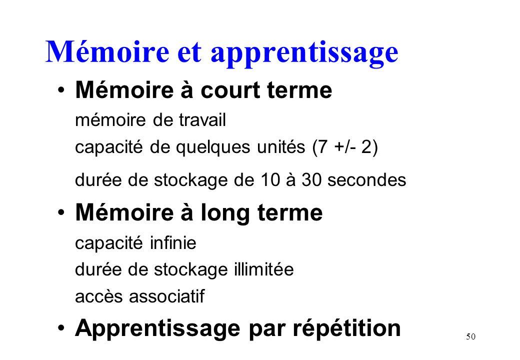 50 Mémoire et apprentissage Mémoire à court terme mémoire de travail capacité de quelques unités (7 +/- 2) durée de stockage de 10 à 30 secondes Mémoi