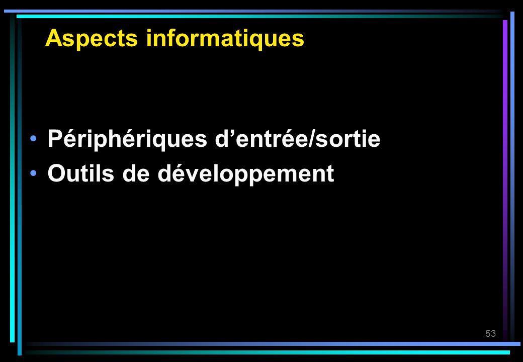 53 Aspects informatiques Périphériques dentrée/sortie Outils de développement