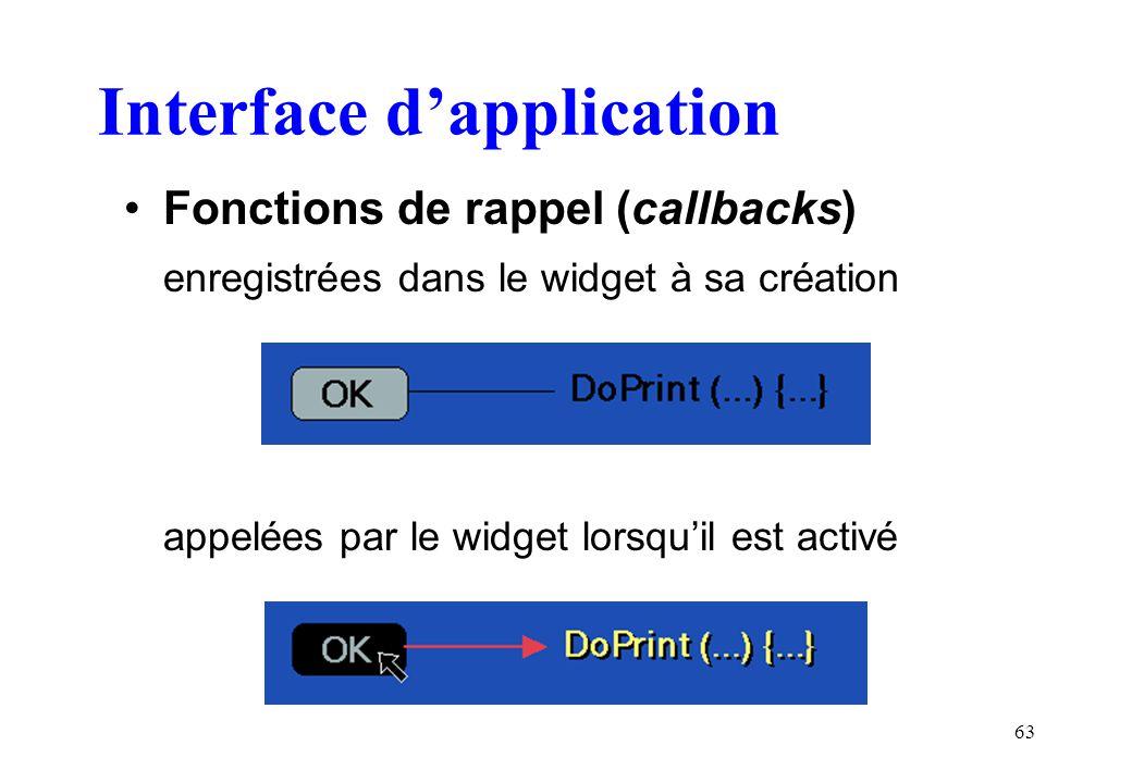 63 Interface dapplication Fonctions de rappel (callbacks) enregistrées dans le widget à sa création appelées par le widget lorsquil est activé