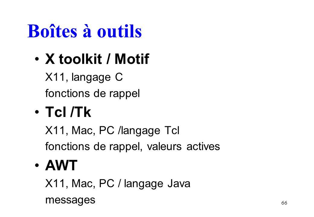 66 Boîtes à outils X toolkit / Motif X11, langage C fonctions de rappel Tcl /Tk X11, Mac, PC /langage Tcl fonctions de rappel, valeurs actives AWT X11, Mac, PC / langage Java messages