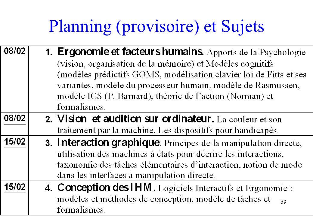 69 Planning (provisoire) et Sujets