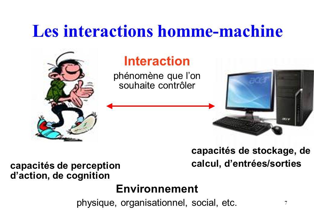 7 Les interactions homme-machine Interaction phénomène que lon souhaite contrôler capacités de perception daction, de cognition Environnement physique