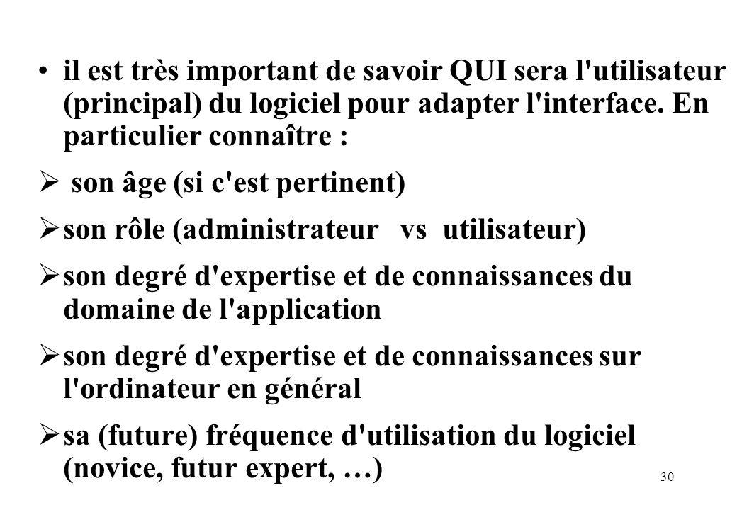 30 il est très important de savoir QUI sera l utilisateur (principal) du logiciel pour adapter l interface.