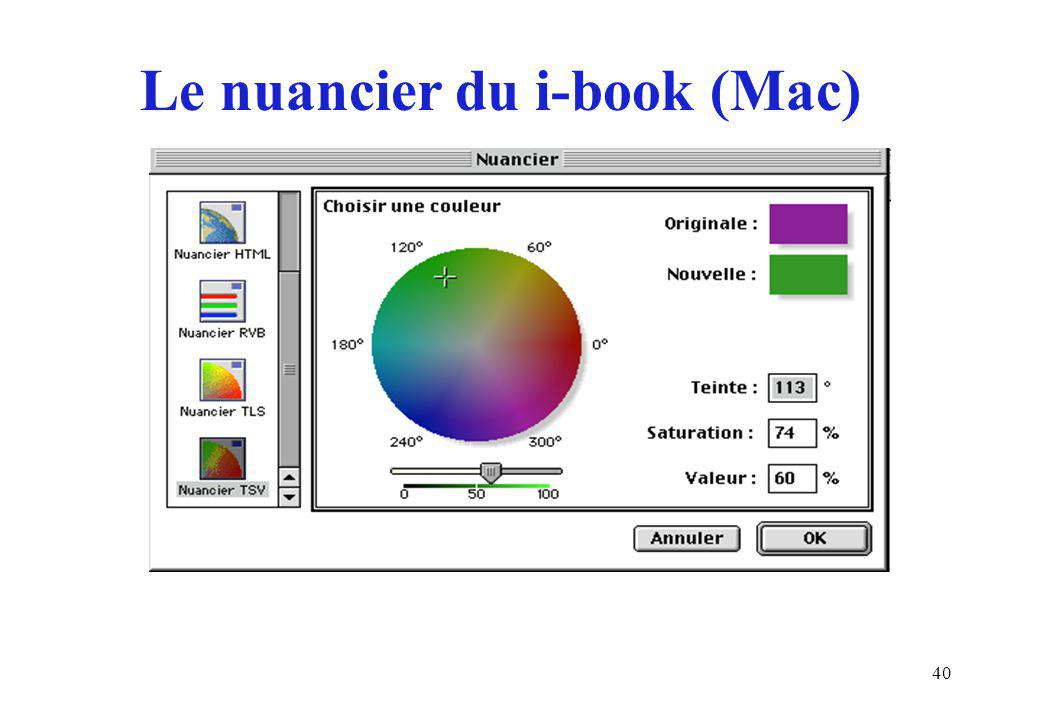40 Le nuancier du i-book (Mac)