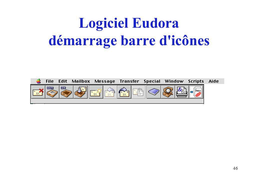 46 Logiciel Eudora démarrage barre d icônes