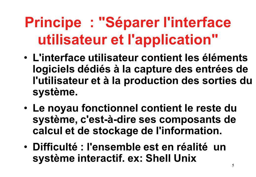 5 Principe : Séparer l interface utilisateur et l application L interface utilisateur contient les éléments logiciels dédiés à la capture des entrées de l utilisateur et à la production des sorties du système.
