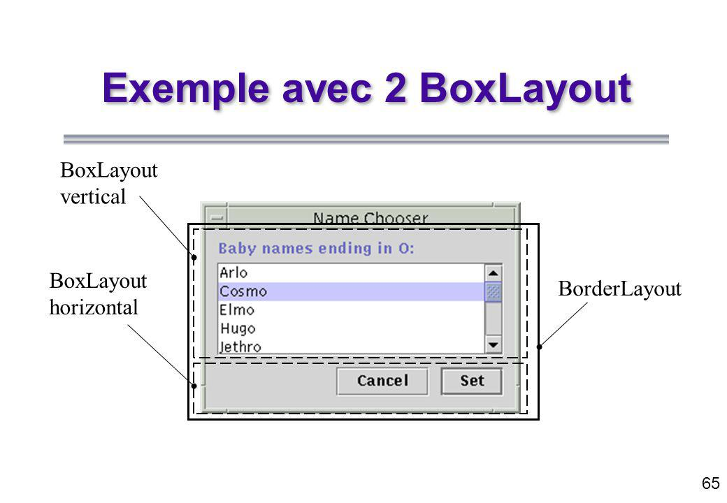 65 Exemple avec 2 BoxLayout BoxLayout vertical BoxLayout horizontal BorderLayout